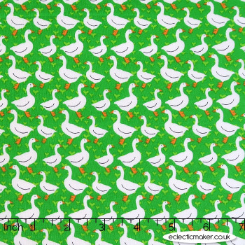 Kingfisher Fabrics - The Kids are Alright - Geese on Green