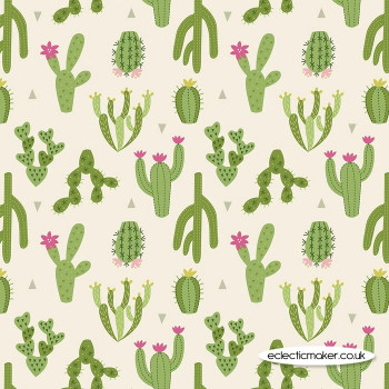 Lewis and Irene Jersey Knit Fabric - Green Cactus