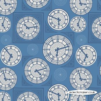 Lewis and Irene - Britannia - Clock Face on Blue