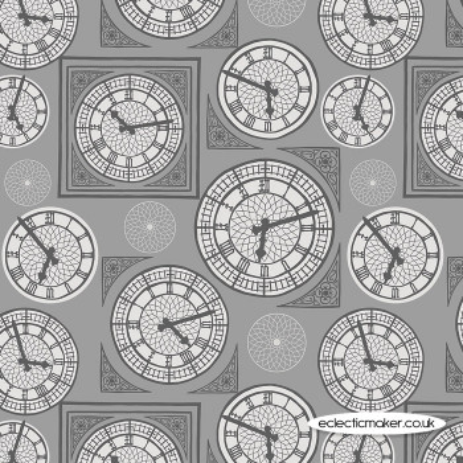 Lewis and Irene - Britannia - Clock Face on Grey