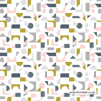 Lewis and Irene Fabrics - Forme - Scattered Geometric on Cream