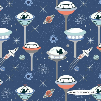 Lewis and Irene Fabrics - Light Years - Dark Blue Space City