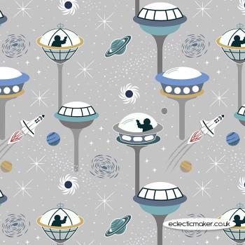 Lewis and Irene Fabrics - Light Years - Light Grey Space City