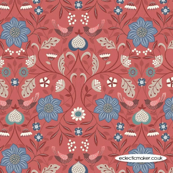 Lewis and Irene Fabric - Michaelmas - Little Bird Floral on Soft Red
