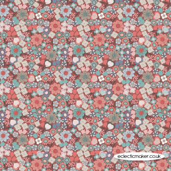 Lewis and Irene Fabric - Michaelmas - Multi Floral on Soft Red