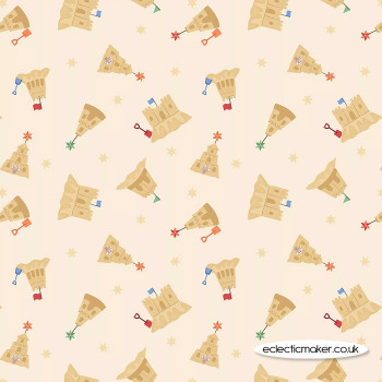 Lewis and Irene Fabrics - Small Things by the Sea - Sandcastles on Light Sand