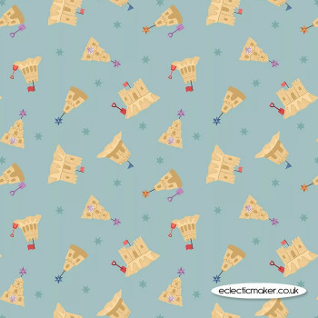 Lewis and Irene Fabrics - Small Things by the Sea - Sandcastles on Sky Blue