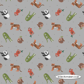 Lewis and Irene Fabrics - Small Things World Animals - Asian Animals on Grey