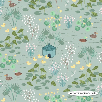 Lewis and Irene Fabrics - The Village Pond - Duck Pond on Duck Egg