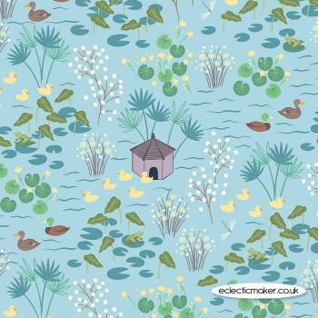 Lewis and Irene Fabrics - The Village Pond - Duck Pond on Light Blue