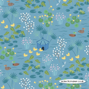 Lewis and Irene Fabrics - The Village Pond - Duck Pond on Sky Blue