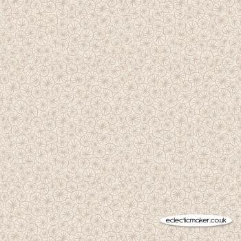 Lewis and Irene Fabrics - The Village Pond - Marigold Leaves on Dark Cream