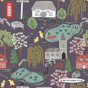 Lewis and Irene Fabrics - The Village Pond - Village Scene on Dark Grey