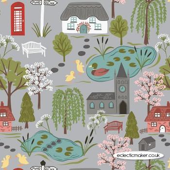 Lewis and Irene Fabrics - The Village Pond - Village Scene on Light Grey