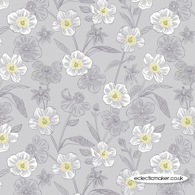 Lewis and Irene Fabrics - Botanic Garden - Rambling Floral on Lightest Grey