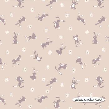 Lewis and Irene Fabrics - Bunny Hop - Bunny on Dark Cream
