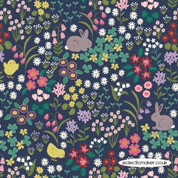 Lewis and Irene Fabrics - Bunny Hop - Bunny & Chick Floral on Dark Blue