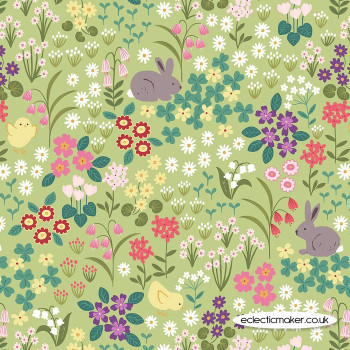 Lewis and Irene Fabrics - Bunny Hop - Bunny & Chick Floral on Spring Green