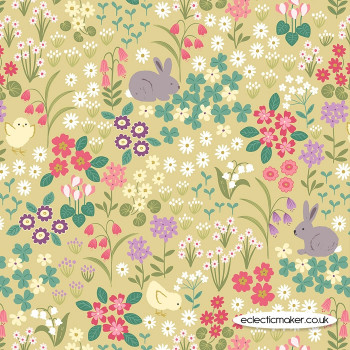 Lewis and Irene Fabrics - Bunny Hop - Bunny & Chick Floral on Spring Yellow