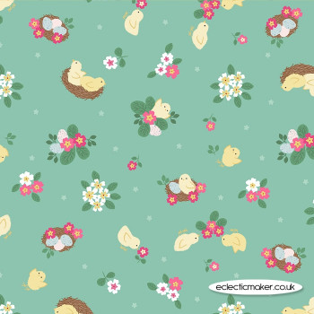 Lewis and Irene Fabrics - Bunny Hop - Chicks on Spring Green