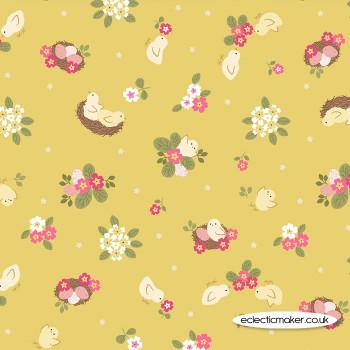 Lewis and Irene Fabrics - Bunny Hop - Chicks on Yellow