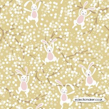 Lewis and Irene Fabrics - Bunny Hop - Swinging Bunnies on Spring Yellow