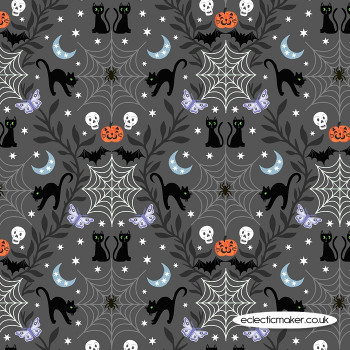 Lewis and Irene Fabrics - Castle Spooky - Cobwebs & Cats on Grey