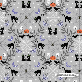 Lewis and Irene Fabrics - Castle Spooky - Cobwebs & Cats on Light Grey