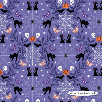 Lewis and Irene Fabrics - Castle Spooky - Cobwebs & Cats on Purple Blue