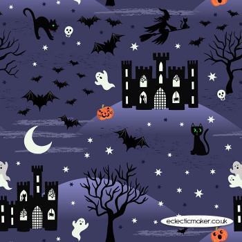 Lewis and Irene Fabrics - Castle Spooky - on Night Blue