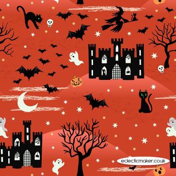 Lewis and Irene Fabrics - Castle Spooky - on Orange