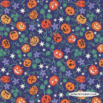 Lewis and Irene Fabrics - Castle Spooky - Spooky Pumpkins on Blue