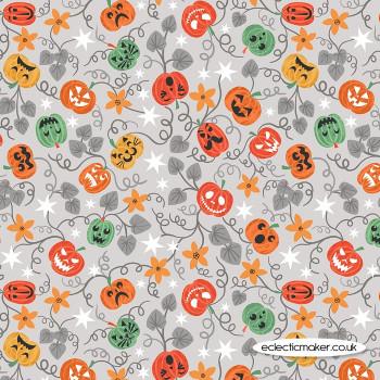 Lewis and Irene Fabrics - Castle Spooky - Spooky Pumpkins on Light Grey