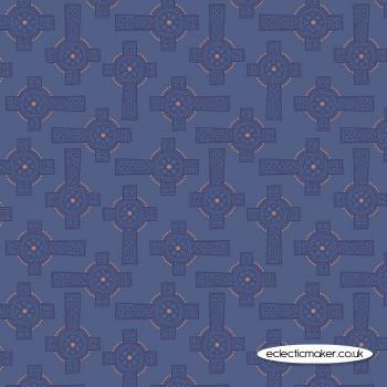 Lewis and Irene Fabrics - Iona - Blue Celtic Cross with Silver Metallic