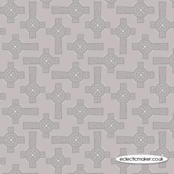 Lewis and Irene Fabrics - Iona - Grey Celtic Cross with Silver Metallic