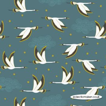 Lewis and Irene Fabrics - Jardin de Lis - Flying Heron on Jade with Gold Metallic
