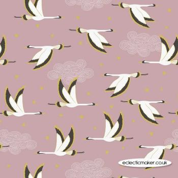 Lewis and Irene Fabrics - Jardin de Lis - Flying Heron on Rose Pink with Gold Metallic
