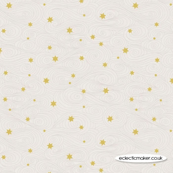 Lewis and Irene Fabrics - Jardin de Lis - Gold Stars on Cream