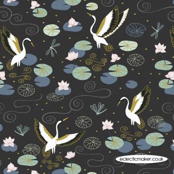 Lewis and Irene Fabrics - Jardin de Lis - Black Heron Lake with Gold Metallic