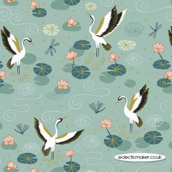 Lewis and Irene Fabrics - Jardin de Lis - Duck Egg Heron Lake with Gold Metallic