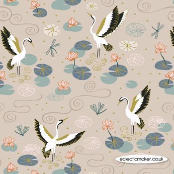 Lewis and Irene Fabrics - Jardin de Lis - Natural Heron Lake with Gold Metallic