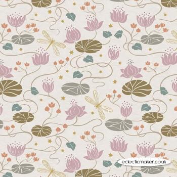 Lewis and Irene Fabrics - Jardin de Lis - Lillies on Cream with Gold Metallic