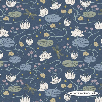 Lewis and Irene Fabrics - Jardin de Lis - Lillies on Dark Blue with Gold Metallic