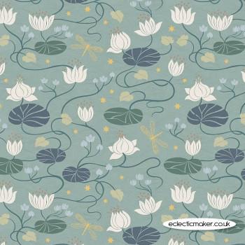 Lewis and Irene Fabrics - Jardin de Lis - Lillies on Dark Duck Egg with Gold Metallic