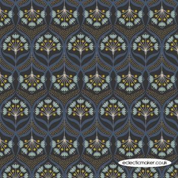 Lewis and Irene Fabrics - Jardin de Lis - Star Floral on Black with Gold Metallic