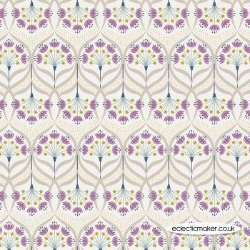 Lewis and Irene Fabrics - Jardin de Lis - Star Floral on Cream with Gold Metallic