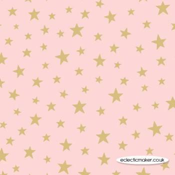 Lewis and Irene Fabrics - Marvellous Metallics - Gold Star on Pink