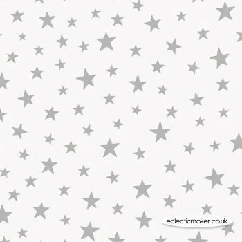 Lewis and Irene Fabrics - Marvellous Metallics - Sliver Star on Cream