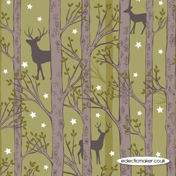 Lewis and Irene Fabrics - Nighttime in Bluebell Wood - Forest Deer on Leaf Green