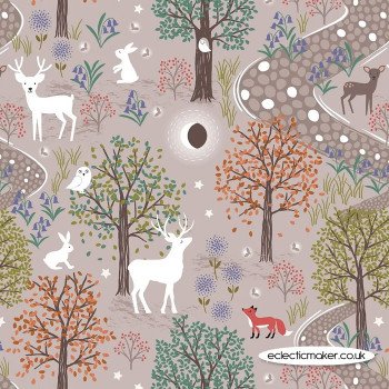 Lewis and Irene Fabrics - Nighttime in Bluebell Wood - Glow in the Woods Natural
